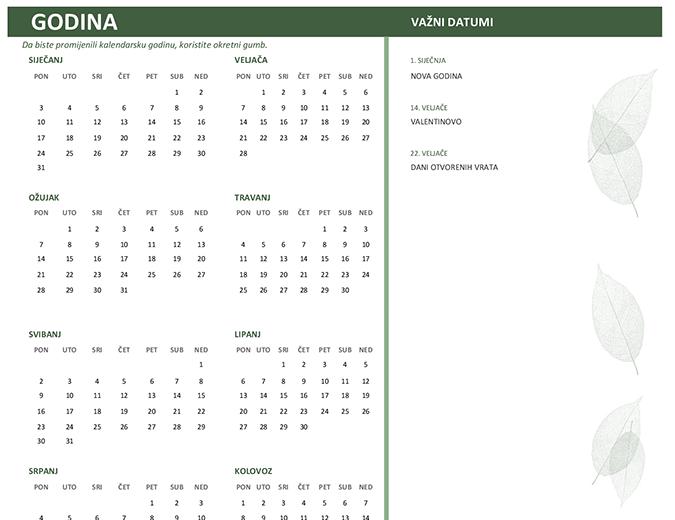 Poslovni kalendar (bilo koja godina, ned.-sub.)