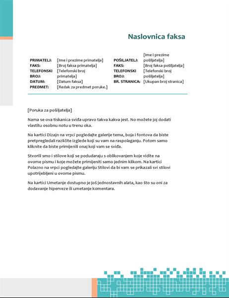 Minimalistička tehnička naslovnica faksa