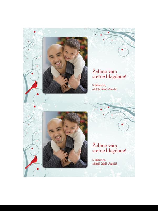 Blagdanske foto čestitke s dizajnom pahuljice (dvije po stranici)