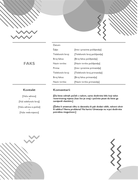 Crno-bijela naslovnica faksa iz osamdesetih