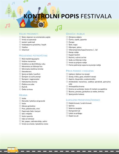 Kontrolni popis festivala