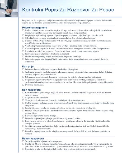 Kontrolni popis za razgovor za posao