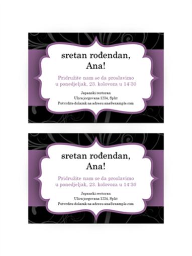 Pozivnica na tulum (dizajn s ljubičastom vrpcom)