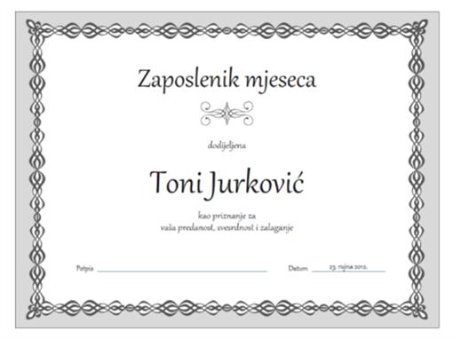Certifikat zaposlenika mjeseca (dizajn sa sivim lancem)