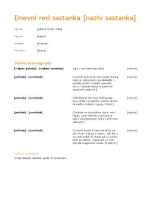 Dnevni red poslovnog sastanka (narančasti dizajn)