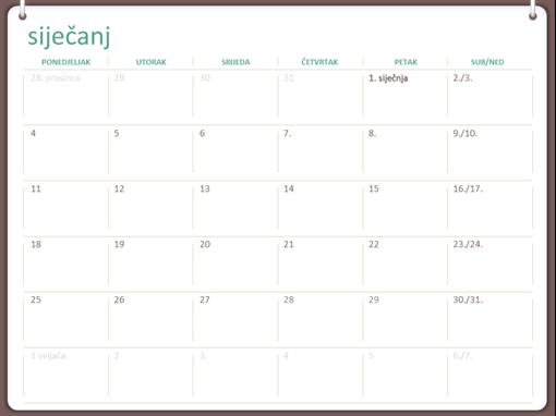 Kalendar za 2018. (od pon. do ned., dizajn s dva prstena)