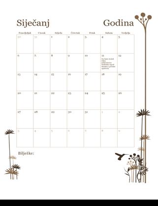 12-mjesečni kalendar (od pon. do ned.)
