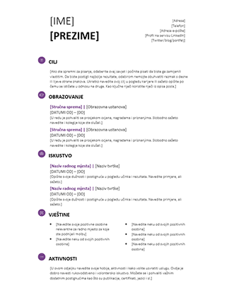 Životopis za studente (moderni dizajn)