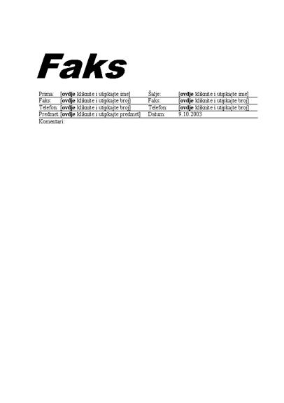 Standardna naslovnica faksa
