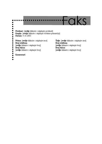 Naslovnica osobnog faksa