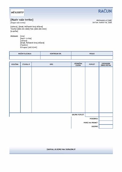 Računi (tema sa stupnjevitom plavom bojom)