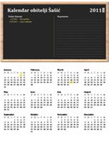 Obiteljski kalendar (godina se postavlja, od ponedjeljka do nedjelje)
