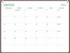 Dizajn uvezenog kalendara s dva prstena za 2013. (pon. – ned.)