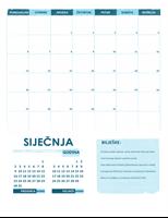 Akademski kalendar, pon. – ned. (za bilo koju godinu)