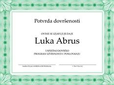 Potvrda o završetku (zelena)