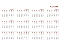 Globalni kalendar za cijelu godinu