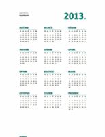 Pregledni kalendar za 2013. godinu (oblik P-N)
