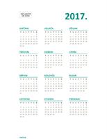 Kalendar s prikazom cijele 2017. godine na jednoj stranici (pon. do ned.)