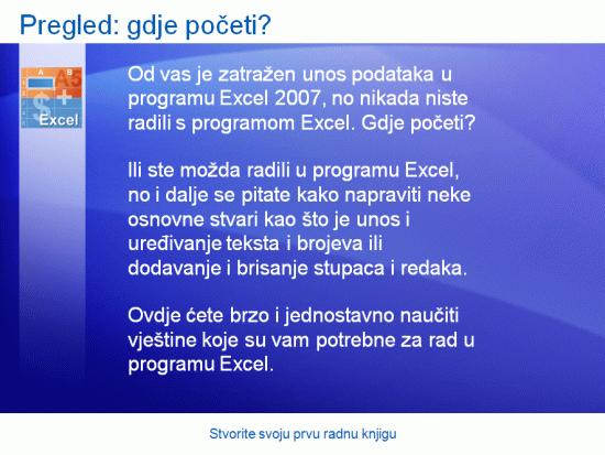 Predstavljanje obuke: Excel 2007 – stvorite svoju prvu radnu knjigu