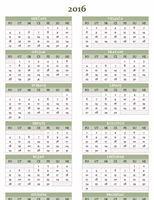 Godišnji kalendar za razdoblje 2016 – 2025 (pon. – ned.)