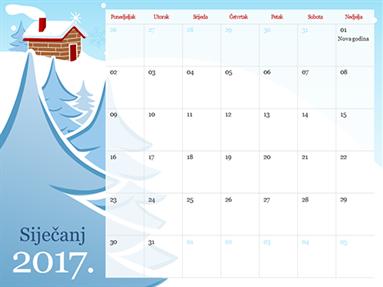 Ilustrirani kalendar po godišnjim dobima za 2015. (od ponedjeljka do nedjelje)