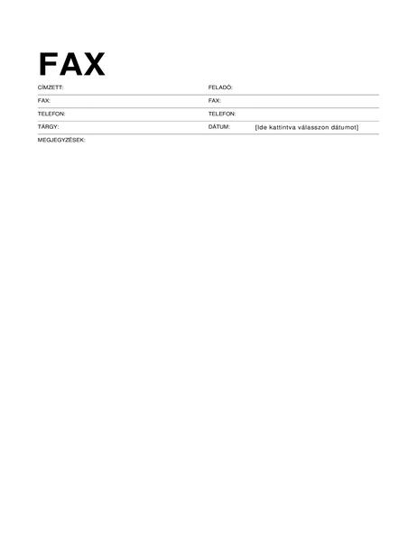 Fedőlap szabványos faxhoz