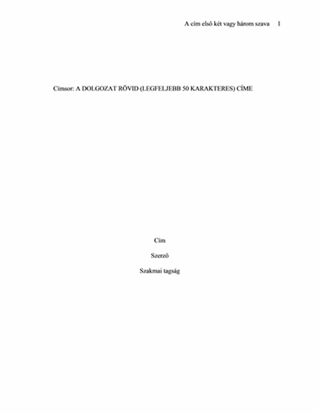 APA papírformátum