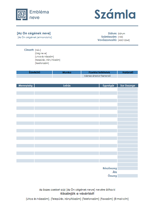 Szolgáltatásszámla (egyszerű kék arculat)