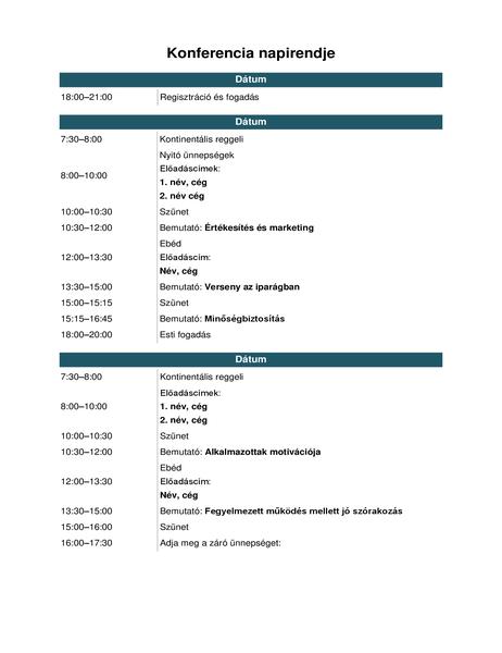 Konferencia napirendje