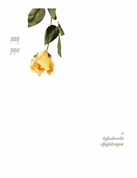 Romantikus üdvözlőlap (rózsával)