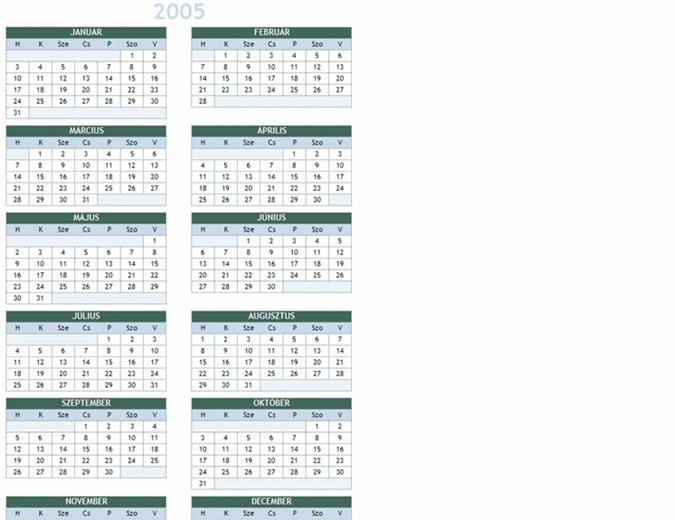 2005–2014. évi naptár (hétfő–vasárnap)