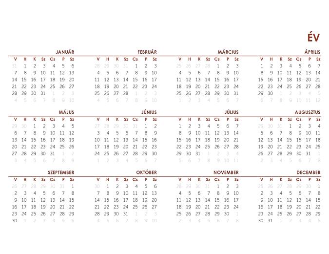 Egész éves globális naptár