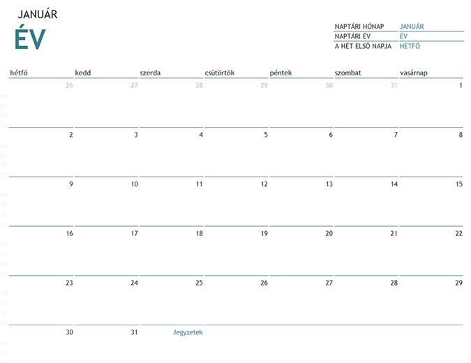 Havi naptár bármely évhez jegyzetekkel