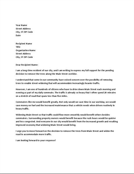 Támogatási levél egy helyi tisztviselőnek