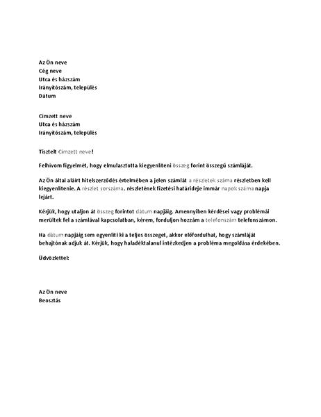 Lejárt számla kifizetését kérő levél