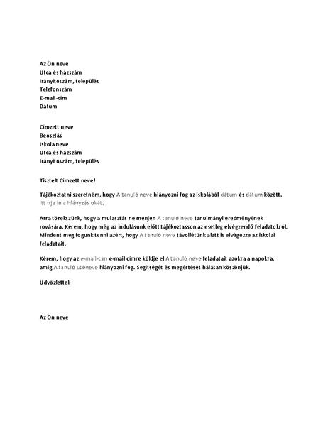 Az iskolát egy tanuló várható hiányzásáról értesítő levél