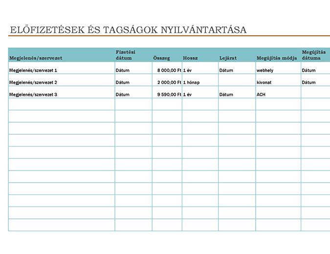 Előfizetések és tagságok nyilvántartása