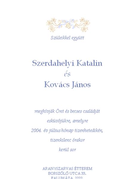 Esküvői meghívó (hagyományos)