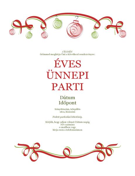 Ünnepi parti meghívója (díszekkel és piros szalaggal) (Hivatalos arculat)
