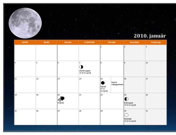 2010. évi holdnaptár (világidő)
