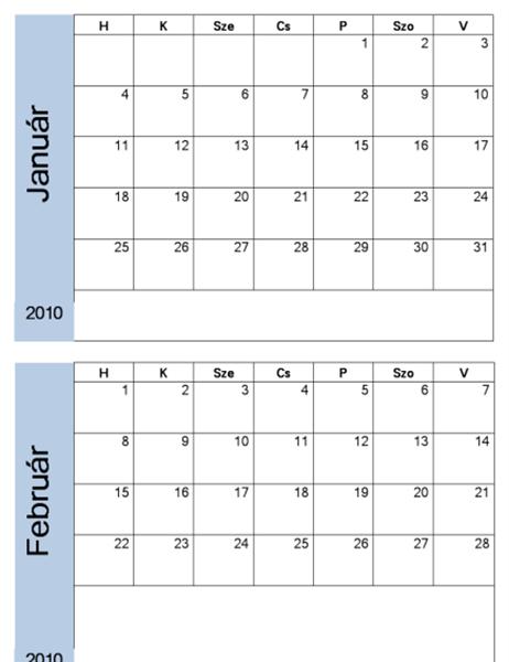 2010. évi naptár kék szegéllyel (6 oldal, hétfő–vasárnap)