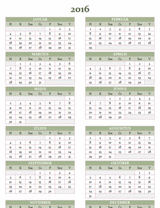 2016–2025-es éves naptár (hétfő–vasárnap)