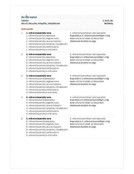 Funkcionális önéletrajzi – Referenciák