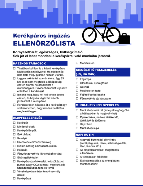 Kerékpáros ingázás ellenőrzőlistája