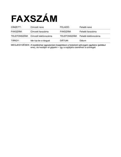 Faxfedőlap (szabványos formátumú)
