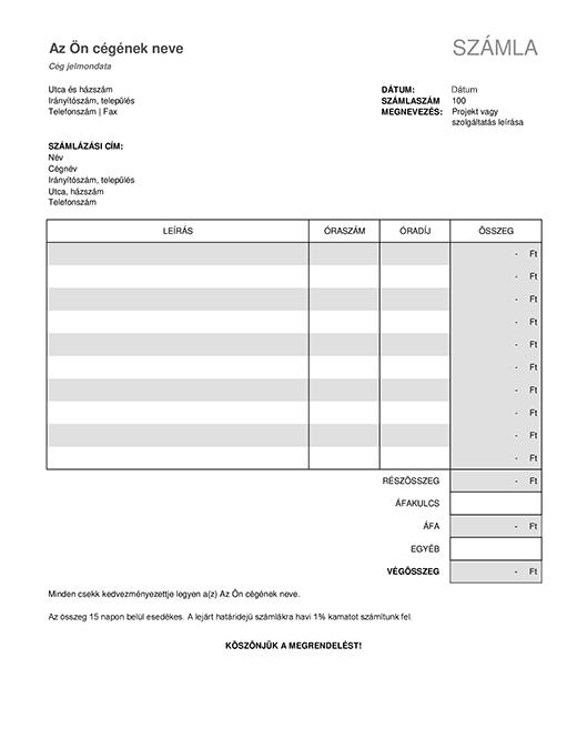 Szolgáltatásszámla adószámítással