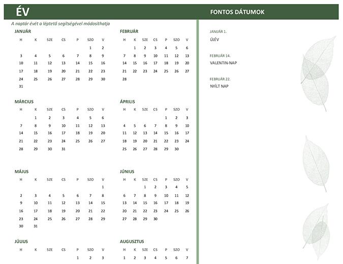 Céges naptár (tetszőleges évre, vasárnap–szombat)
