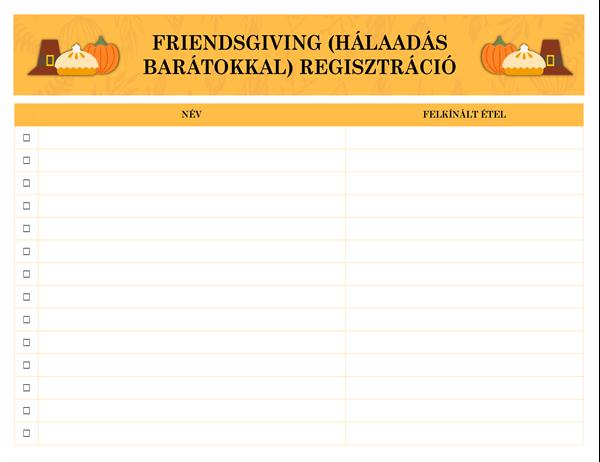 Friendsgiving (Hálaadás barátokkal) regisztráció