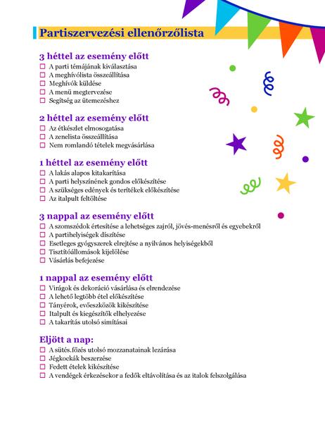 Partiszervezési ellenőrzőlista