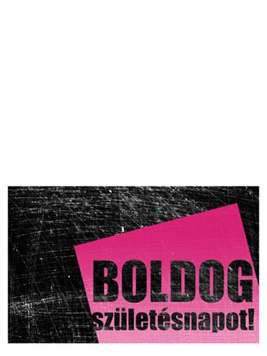 Születésnapi kártya, karcos háttér (rózsaszín-fekete, félbe hajtott)